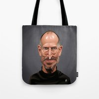 steve jobs Tote Bags featuring Celebrity Sunday ~ Steve Jobs by rob art | illustration