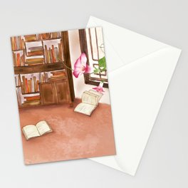 Watercolor Illustration of a bookshelf in the room Stationery Cards
