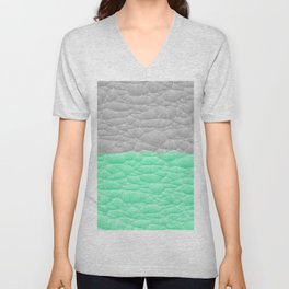 Vibrant Mint Green and Silver Quilted Design Unisex V-Neck