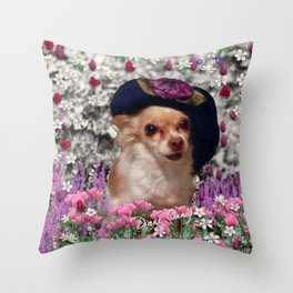 Chi Chi in Purple, Red, Pink, White Flowers, Chihuahua Puppy Dog Throw Pillow