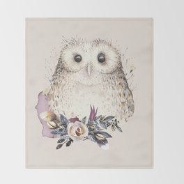 Boho Illustration- Be Wise Little Owl Throw Blanket