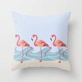 Seaside Flamingos Throw Pillow