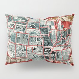 usa map urban city collage Pillow Sham