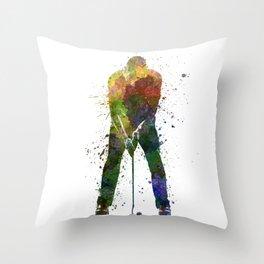 man golfer putting silhouette Throw Pillow