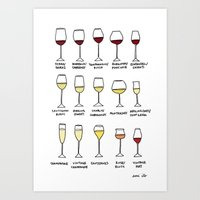 wine Art Prints featuring Wine by emi ito illustration