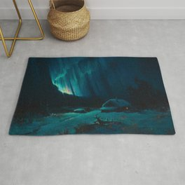 Northern Lights - Aurora Borealis Snowy Night Winter Scene by Sydney Lawrence Rug