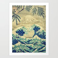 asian Art Prints featuring The Great Blue Embrace at Yama by Kijiermono