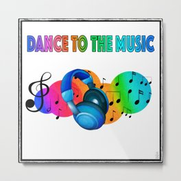 Rainbow Dance to the Music Headphones and Music Notes Metal Print