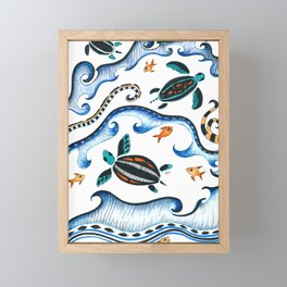 Sea Turtles And Waves Doodle Ink Framed Mini Art Print