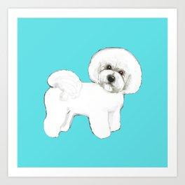 Bichon Frise on aqua / teal / cute dogs/ dog lovers gift Art Print