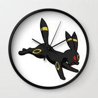 umbreon Wall Clocks featuring Dark by InsertCreativeTitle