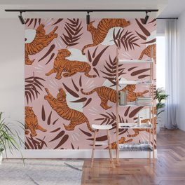 Vibrant Wilderness / Tigers on Pink Wall Mural