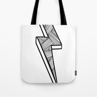 lightning Tote Bags featuring Lightning by Amber Lily Fryer