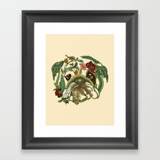 Botanical English Bulldog Framed Art Print