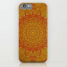 Bright Orange Mandala 1960's Hippie Mandala Pattern iPhone Case