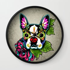 Day of the Dead Boston Terrier Sugar Skull Dog Wall Clock