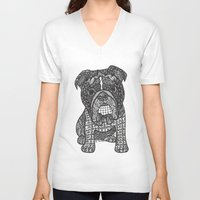 english bulldog V-neck T-shirts featuring  Inspired English Bulldog by DiAnne Ferrer