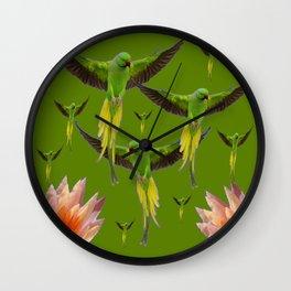 FLOCK OF GREEN FLYING FAIRY BIRDS  & PEACH FLOWERS ART Wall Clock