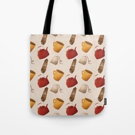 Brown Fall Style Tea and Coffee Tote Bag
