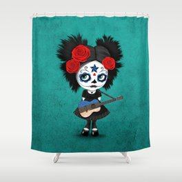 Day of the Dead Girl Playing Estonian Flag Guitar Shower Curtain