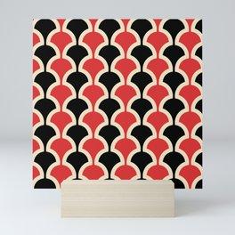 Classic Fan or Scallop Pattern 439 Black and Red Mini Art Print
