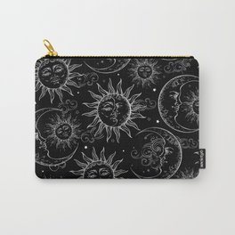 Black Magic Celestial Sun Moon Stars Carry-All Pouch
