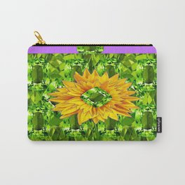 August  Peridots Gemstones & Yellow Sunflower  Lilac Abstract Carry-All Pouch