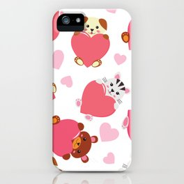 Funny kawaii animals with hearts pattern iPhone Case