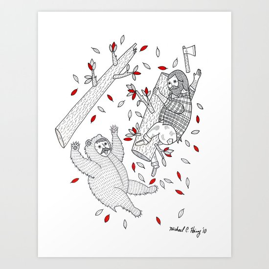 A scene in which tree-climbing has gone too far. Art Print