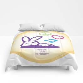Peace Love Harmony Bunny Rabbit Comforters