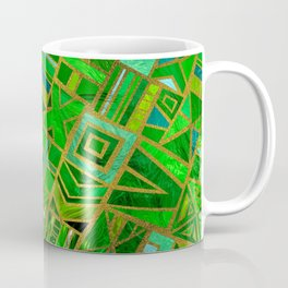 Geometric  Green and Gold African Tribal Pattern Coffee Mug