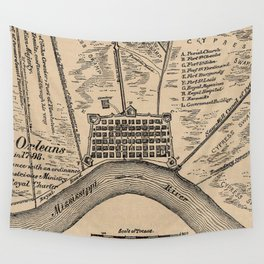 Vintage Map of New Orleans Louisiana (1798) Wall Tapestry