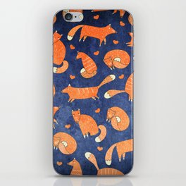 Foxes at Night - Cute Fox Pattern iPhone Skin