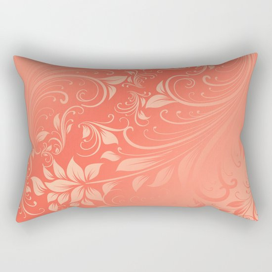 Coral Swirls leaves Rectangular Pillow