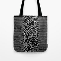 joy division Tote Bags featuring Joy Division - Chinese White by hunnydoll