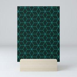 Cube Pattern 01 Green Mini Art Print