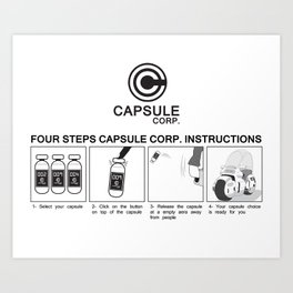 Manga, Dragon Ball, Capsule Corp instruction Art Print