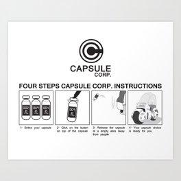 Manga, Dragon Ball, Capsule Corp instruction Art Print