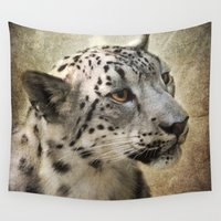 snow leopard Wall Tapestries featuring Snow Leopard by Jai Johnson