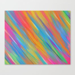 Color Overload Painting / Watercolor Hand Painted Tie-Dye Effect Gradient / Orange Yellow Blue Pink Canvas Print