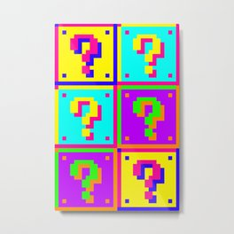 Bright Mario ?Question Blocks Metal Print