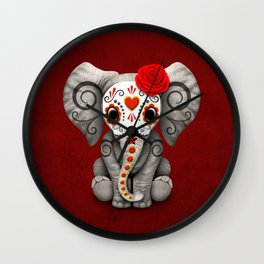 Deep Red Day of the Dead Sugar Skull Baby Elephant Wall Clock
