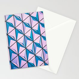 Pink Blue Geometric Triangle Pattern Stationery Cards