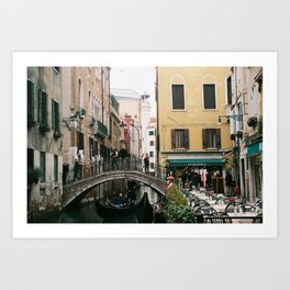 Cafe and Canal in Venice Art Print