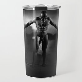 Man Shackled as Nude Slave in a Dungeon Travel Mug