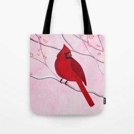 Cardinal on Pink Tote Bag