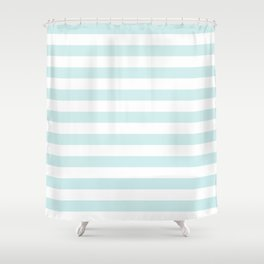 Narrow Horizontal Stripes - White and Light Cyan Shower Curtain