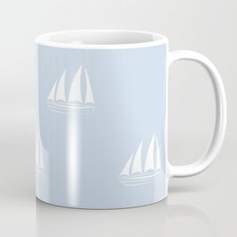 White Sailboat Pattern on pale blue background Coffee Mug