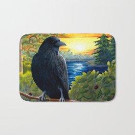 Bird Crow Raven Sunset Bath Mat