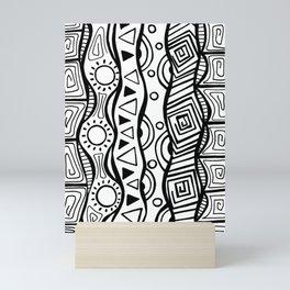 Four Waves - Freestyle Tribal Doodle Design Mini Art Print